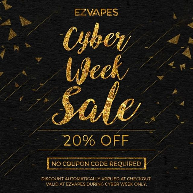 Take an additional 20% off when you add items to your cart at ezvapes.com during #cyberweek No coupons needed, just add your items to the cart and the discount is automatically applied at checkout! #ezvapes #vtw #vapetheworld #cybersale #vape #vaporizer #vapes #420 #710
