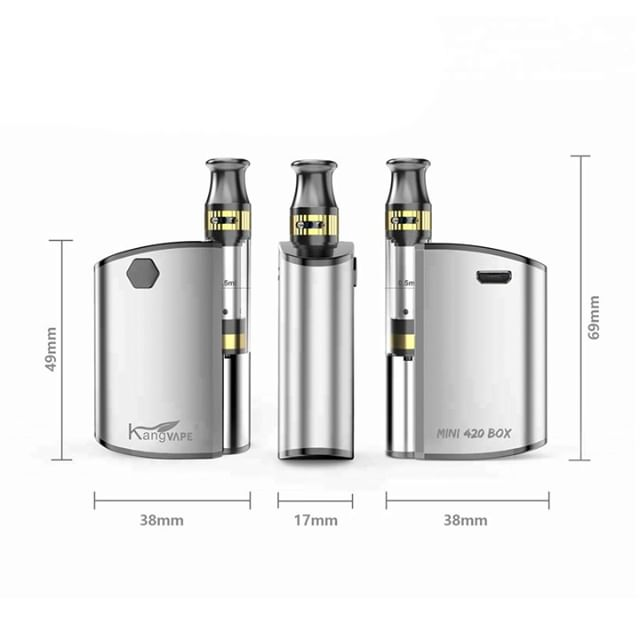 The Kangvape Mini 420 Box Kit provides 3 variable voltage settings, battery life indicator, preheat mode, and can handle carts up to 11.2mm wide while being less than 3 inches tall and 1.5 inches wide. Order yours now at ezvapes.com #ezvapes #vtw #vapetheworld #mini420 #420vape #cartridgevape #cartridges #vapecartridges
